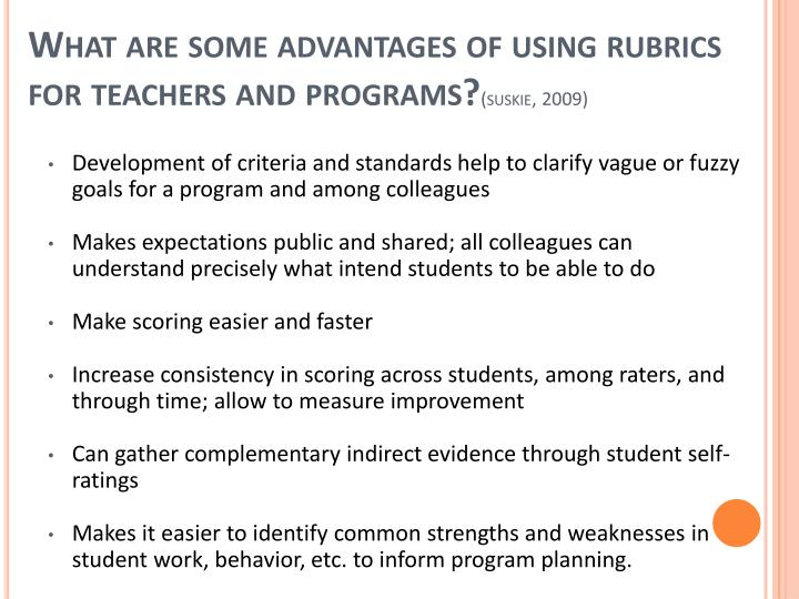 What are some advantages of using rubrics for teachers and programs?