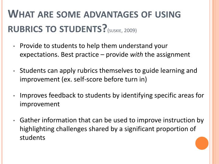 What are some advantages of using rubrics to students?