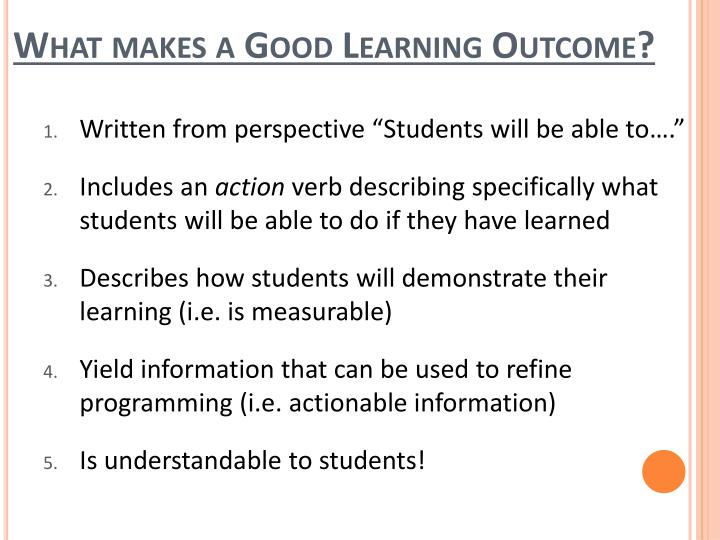What makes a Good Learning Outcome?