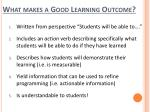 what makes a good learning outcome