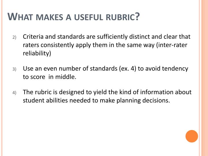 What makes a useful rubric?