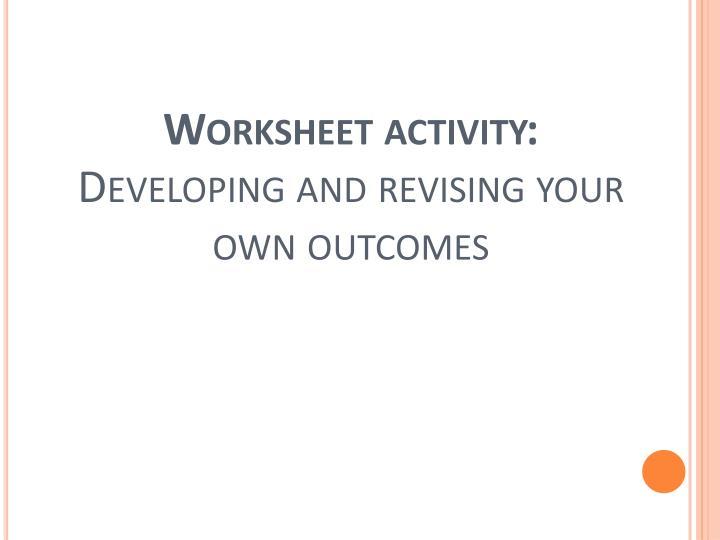Worksheet activity: