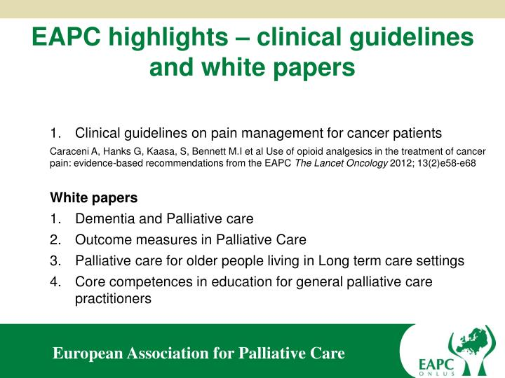 EAPC highlights – clinical guidelines and white papers