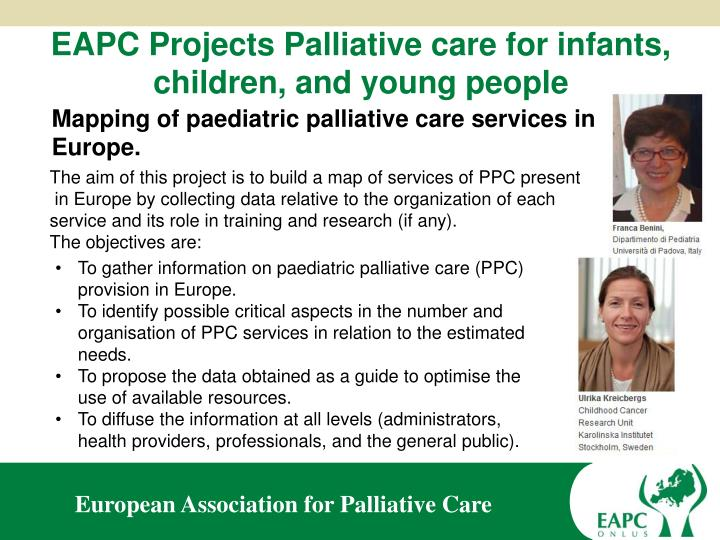EAPC Projects Palliative care for infants, children, and young people