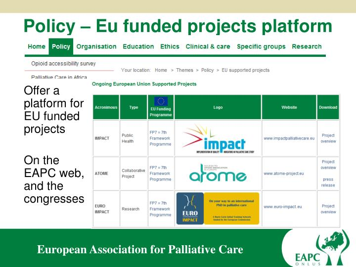 Policy – Eu funded projects platform