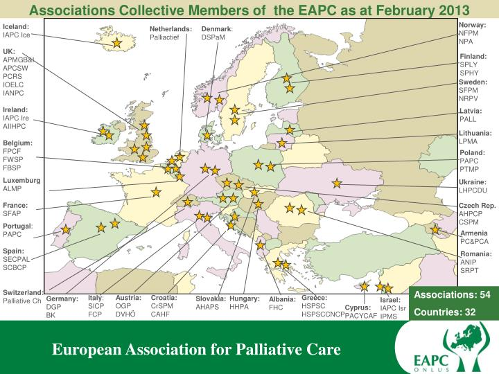 Associations Collective Members of  the EAPC as at February 2013