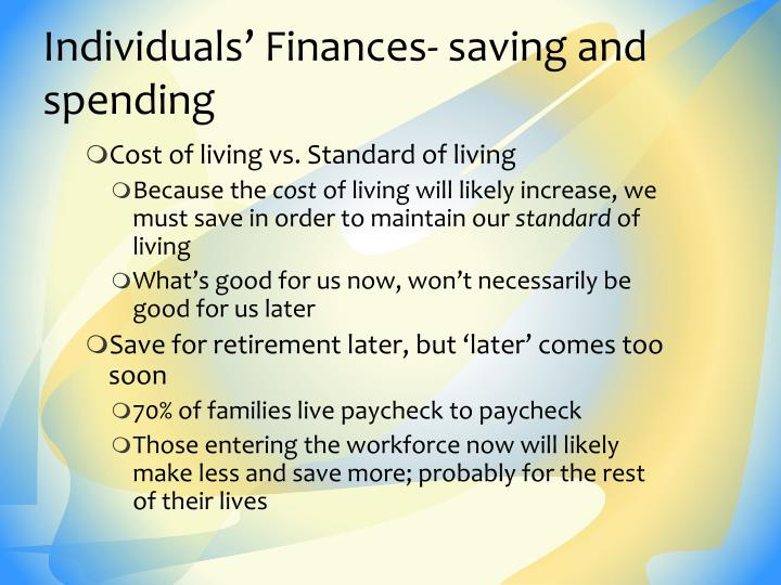 Individuals' Finances- saving and spending
