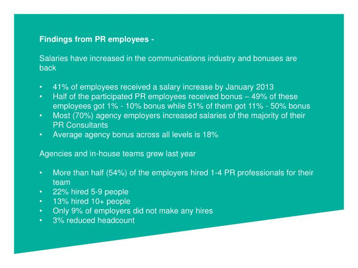 Findings from PR employees -