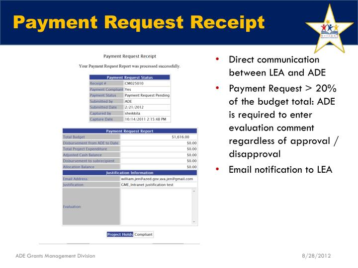 Payment Request Receipt