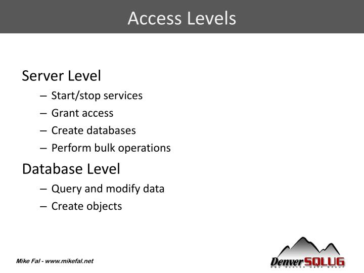 Access Levels