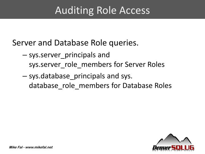 Auditing Role Access