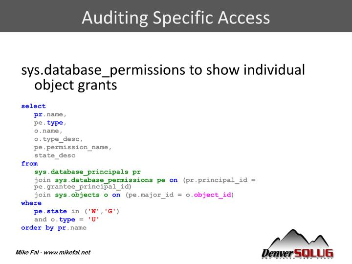 Auditing Specific Access