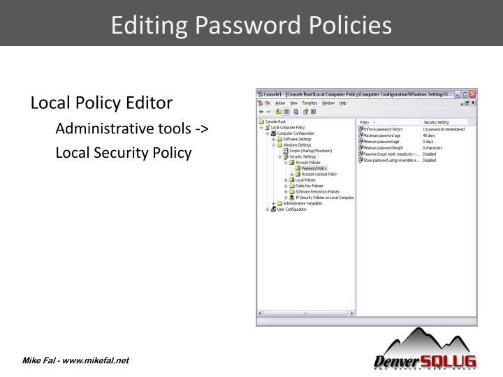 Editing Password Policies