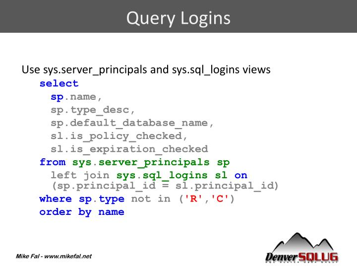 Query Logins