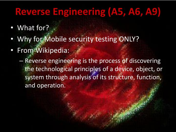 Reverse Engineering (A5, A6, A9)