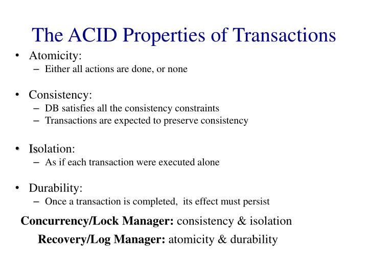 The acid properties of transactions