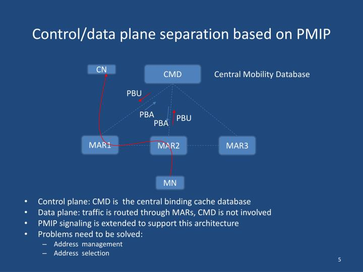 Control/data plane separation based on