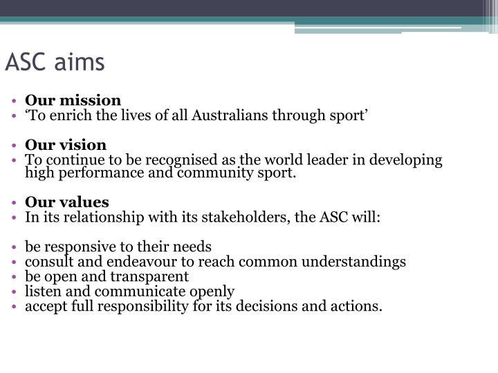ASC aims