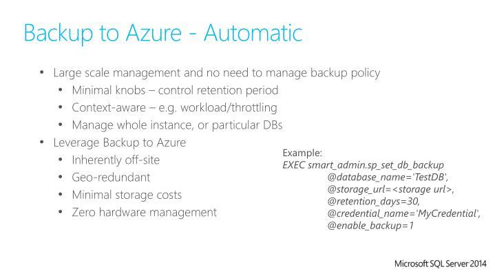 Backup to Azure - Automatic