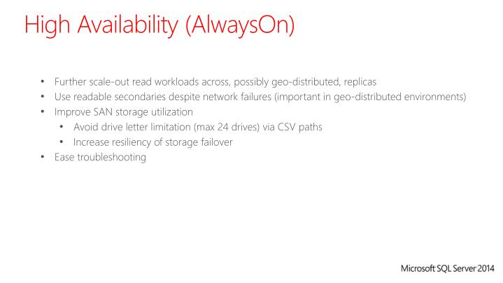High Availability (AlwaysOn)
