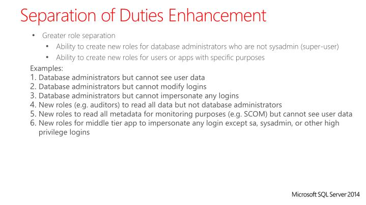 Separation of Duties Enhancement