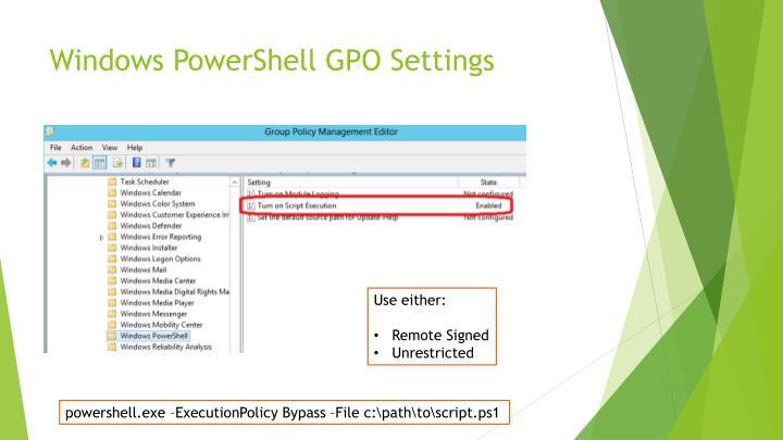 Windows PowerShell GPO Settings