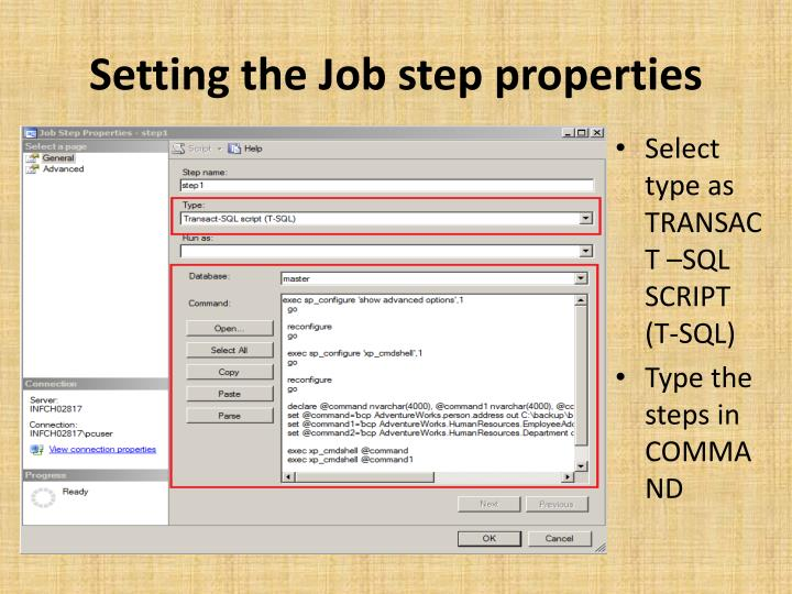 Setting the Job step properties