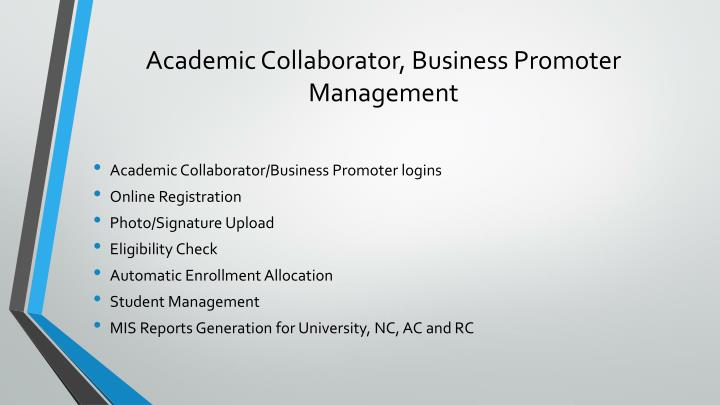 Academic Collaborator, Business Promoter Management