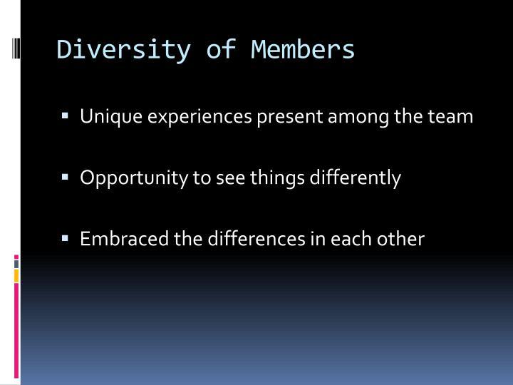 Diversity of Members