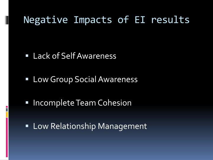 Negative Impacts of EI results