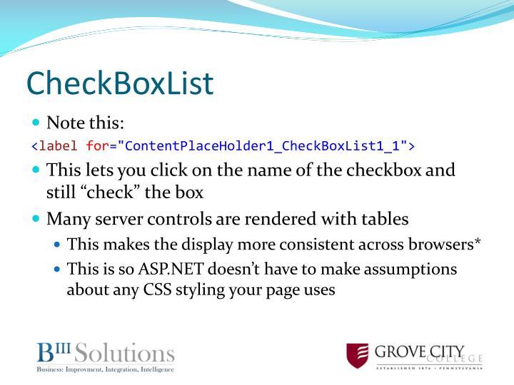 CheckBoxList