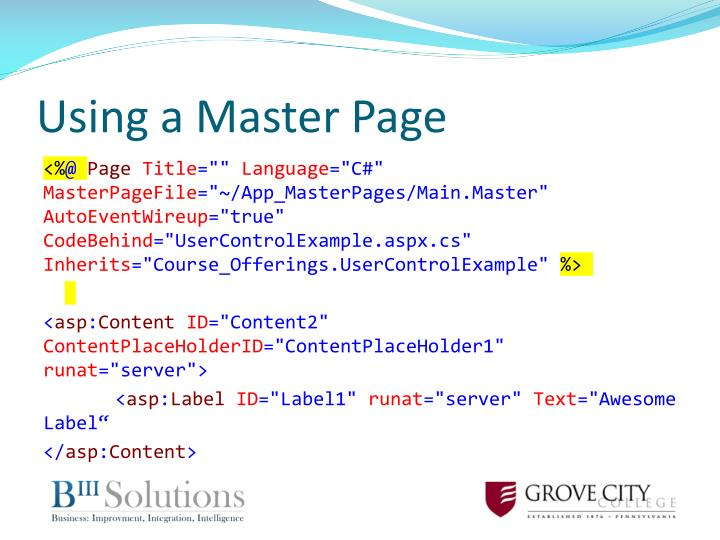 Using a Master Page