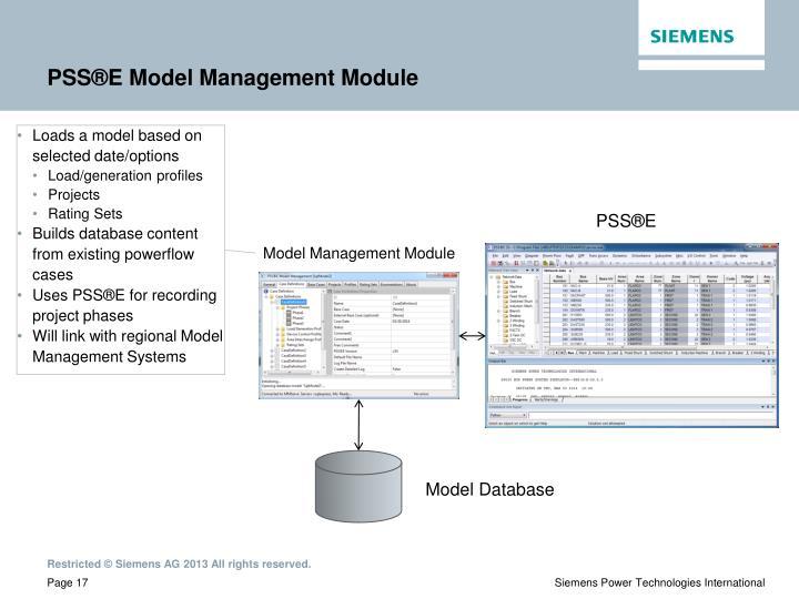 PSS®E Model Management Module