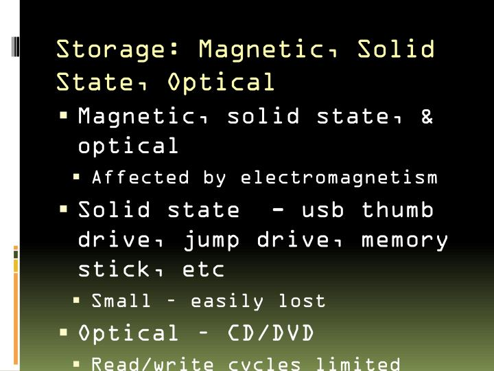 Storage: Magnetic, Solid State, Optical