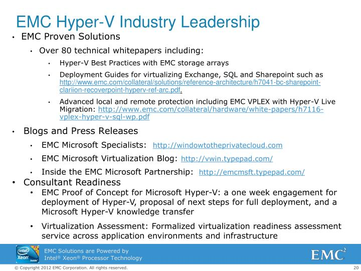EMC Hyper-V Industry Leadership