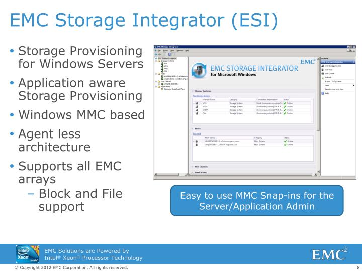 EMC Storage Integrator (ESI)