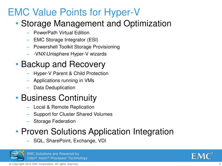 EMC Value Points for Hyper-V