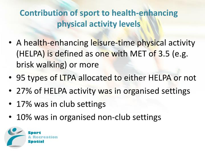 Contribution of sport to health-enhancing physical activity levels