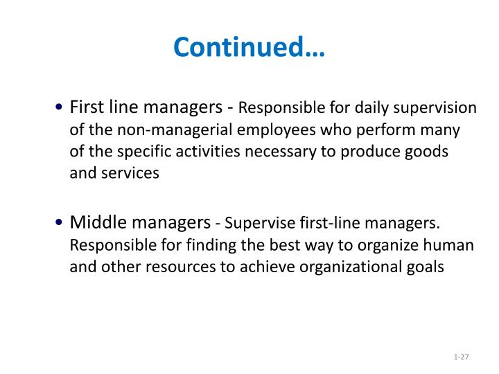 First line managers -