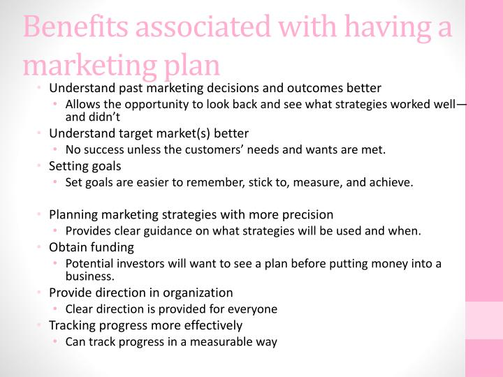 Benefits associated with having a marketing plan