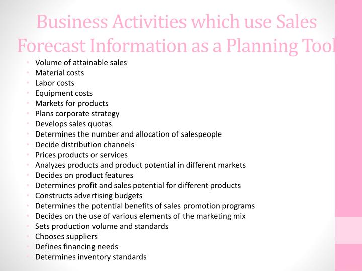 Business Activities which use Sales Forecast Information as a Planning Tool