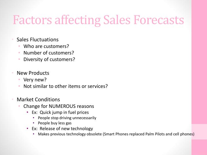 Factors affecting Sales Forecasts