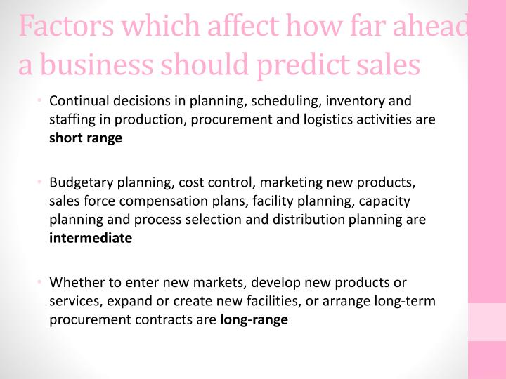Factors which affect how far ahead a business should predict sales