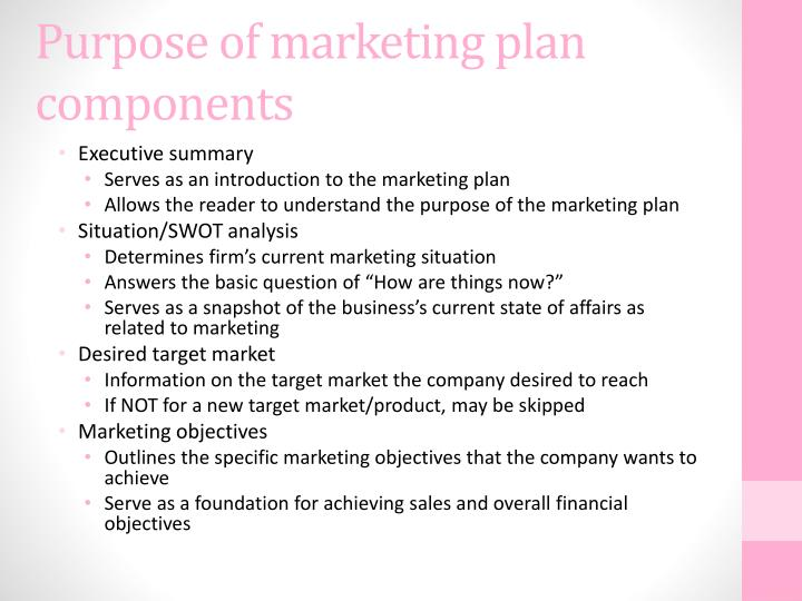 Purpose of marketing plan components