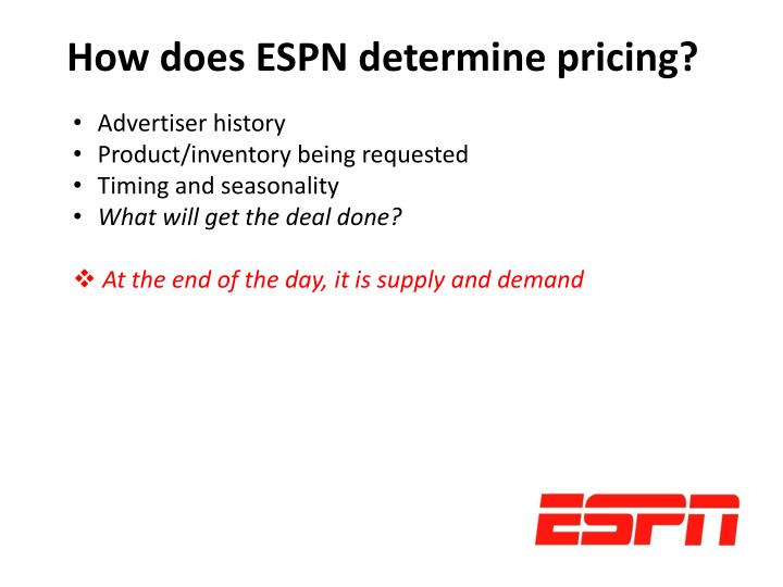 How does ESPN determine pricing?