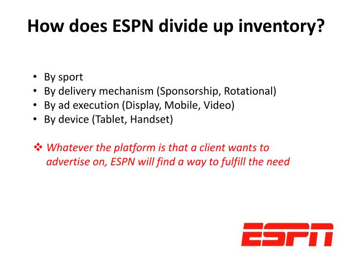 How does ESPN divide up inventory?