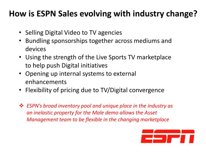 How is ESPN Sales evolving with industry change?