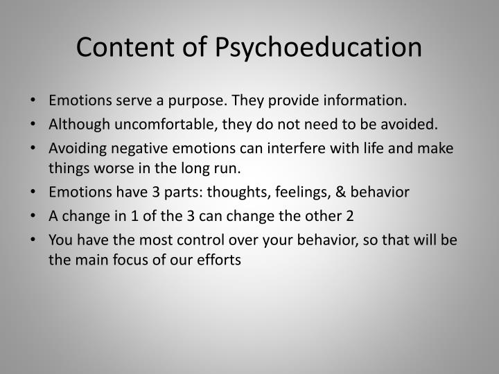 Content of Psychoeducation