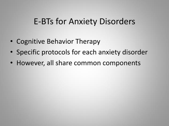 E-BTs for Anxiety Disorders