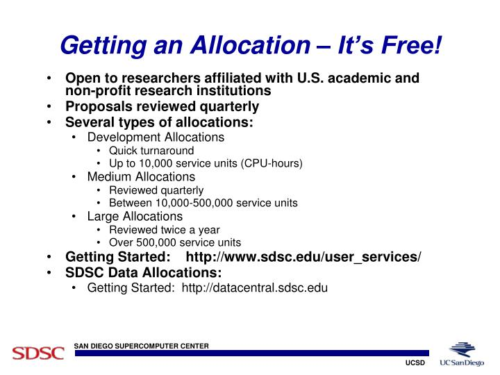 Getting an Allocation – It's Free!